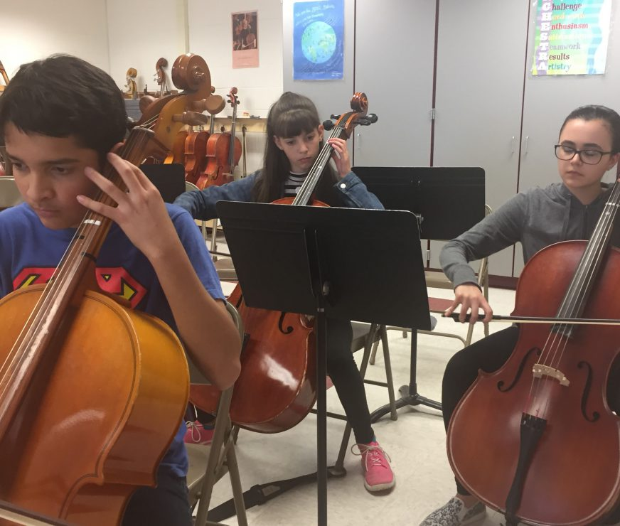 Students concentrate on playing cello