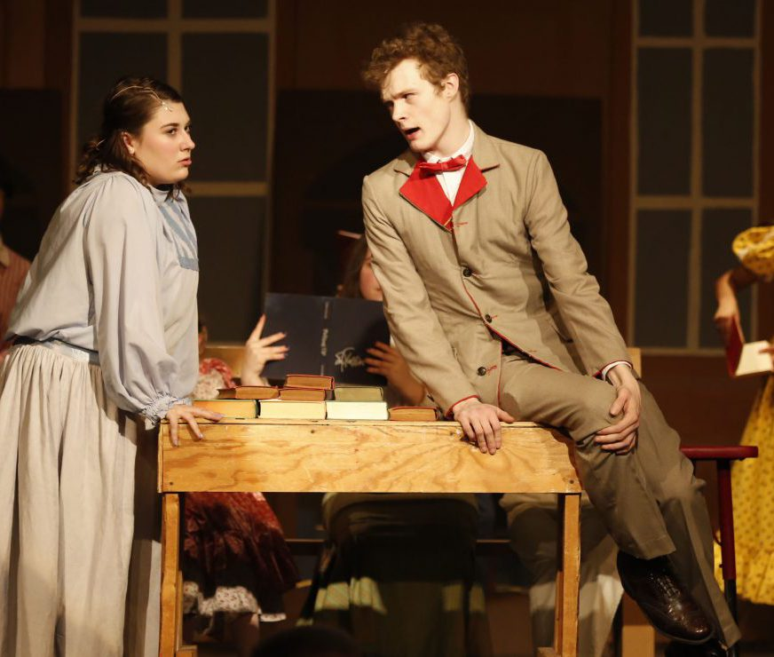 Two GHS student actors recite their lines on stage