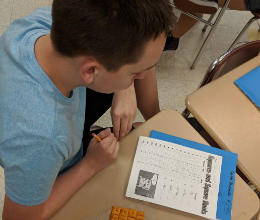 Students work on a math problem