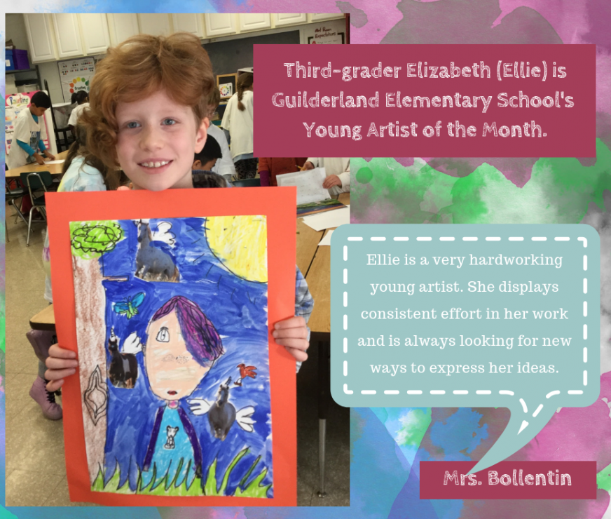 Young Artist of the Month, Ellie, holds up a self portrait