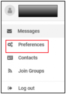 Screenshot of SchoolMessenger's Preferences option