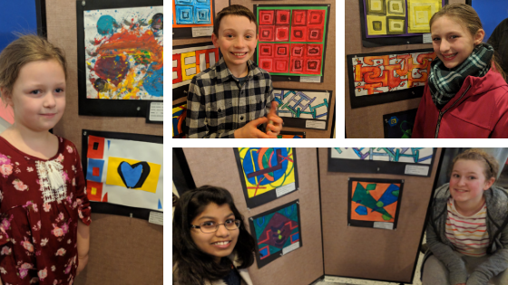 collage of students with their abstract art