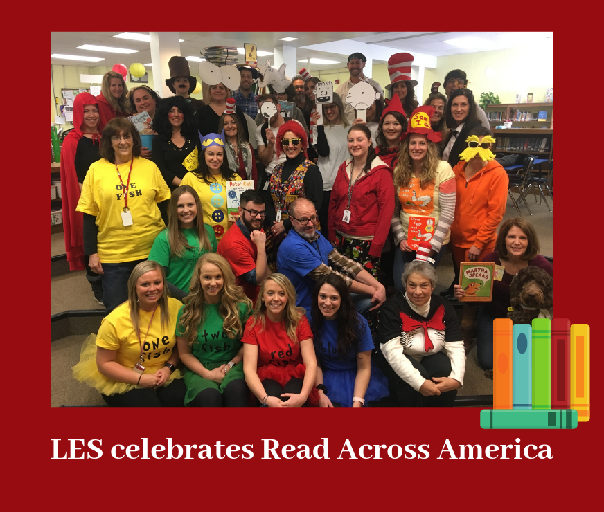Group photo of LES teachers dressed up in book character costumes