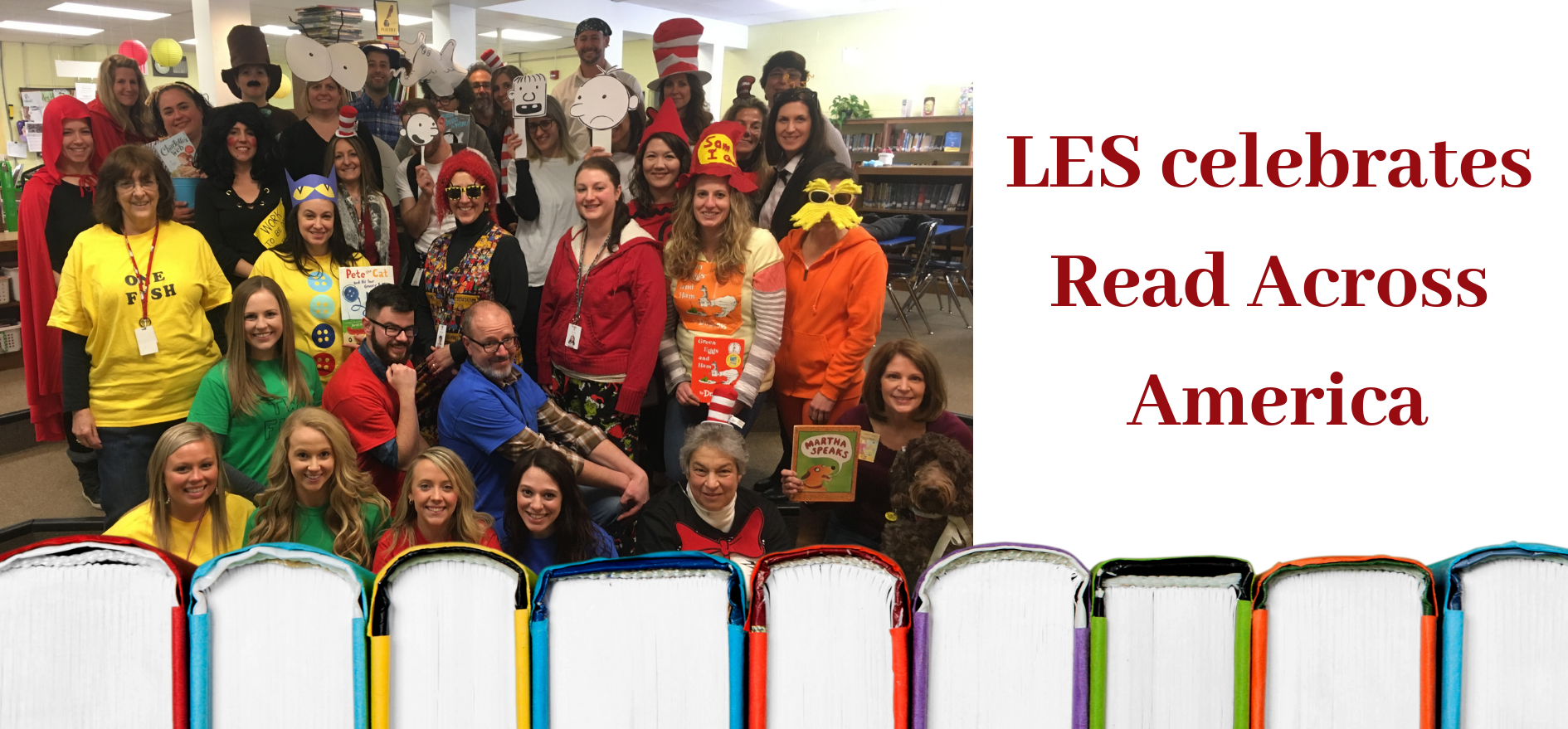 Group photo of LES teachers dressed as book characters