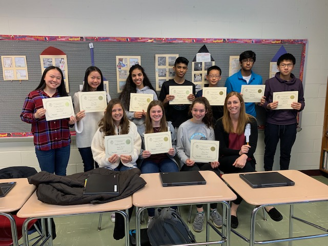 GHS French students smile with their certificates