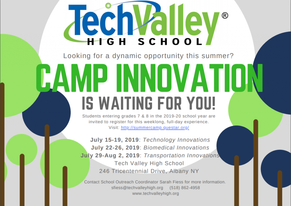 Flyer for tech valley summer camp