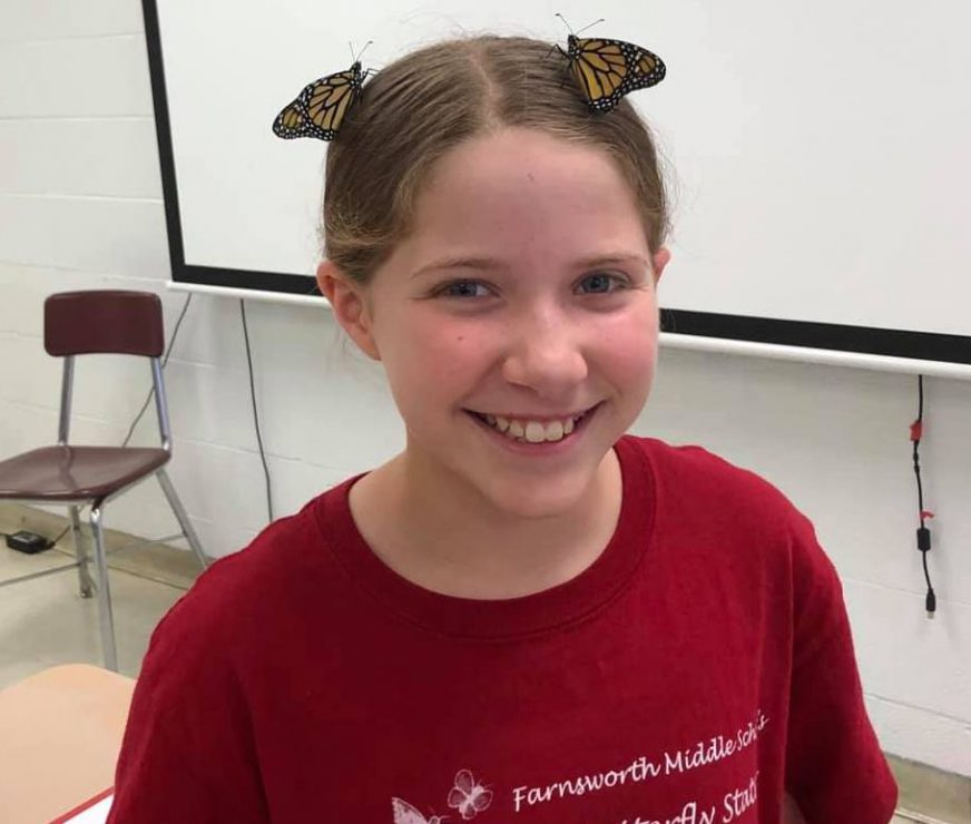 girl with two butterflies on hair
