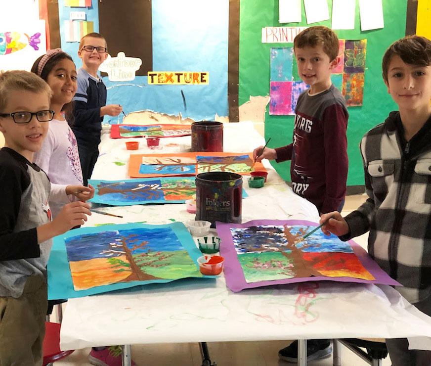 Pine Bush Elementary student painting artwork