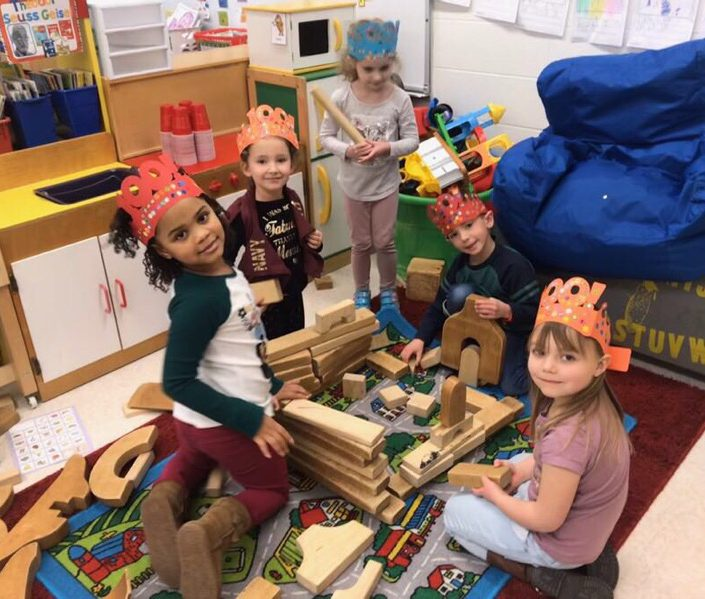 Students celebrating 100 days of school at AES