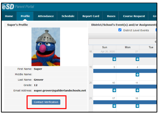 Example of what th Student's Profile page looks like with the Contact Verification button highlighted