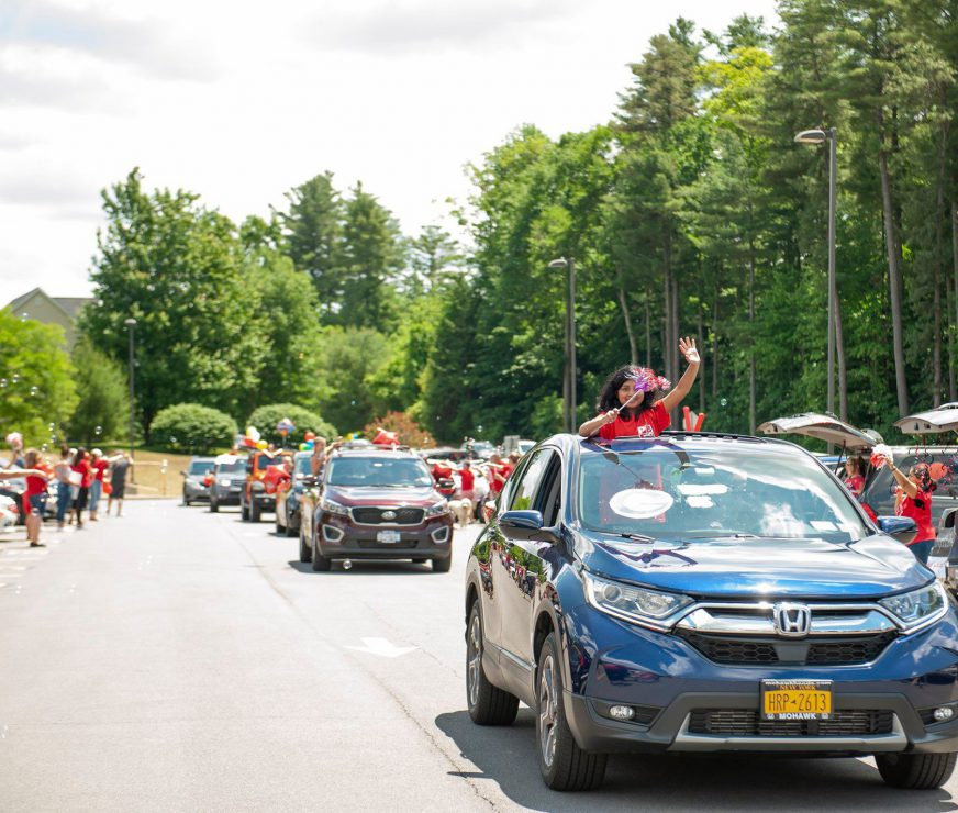 PBES 5th Grade Send off 2020, line of cars, kids and staff