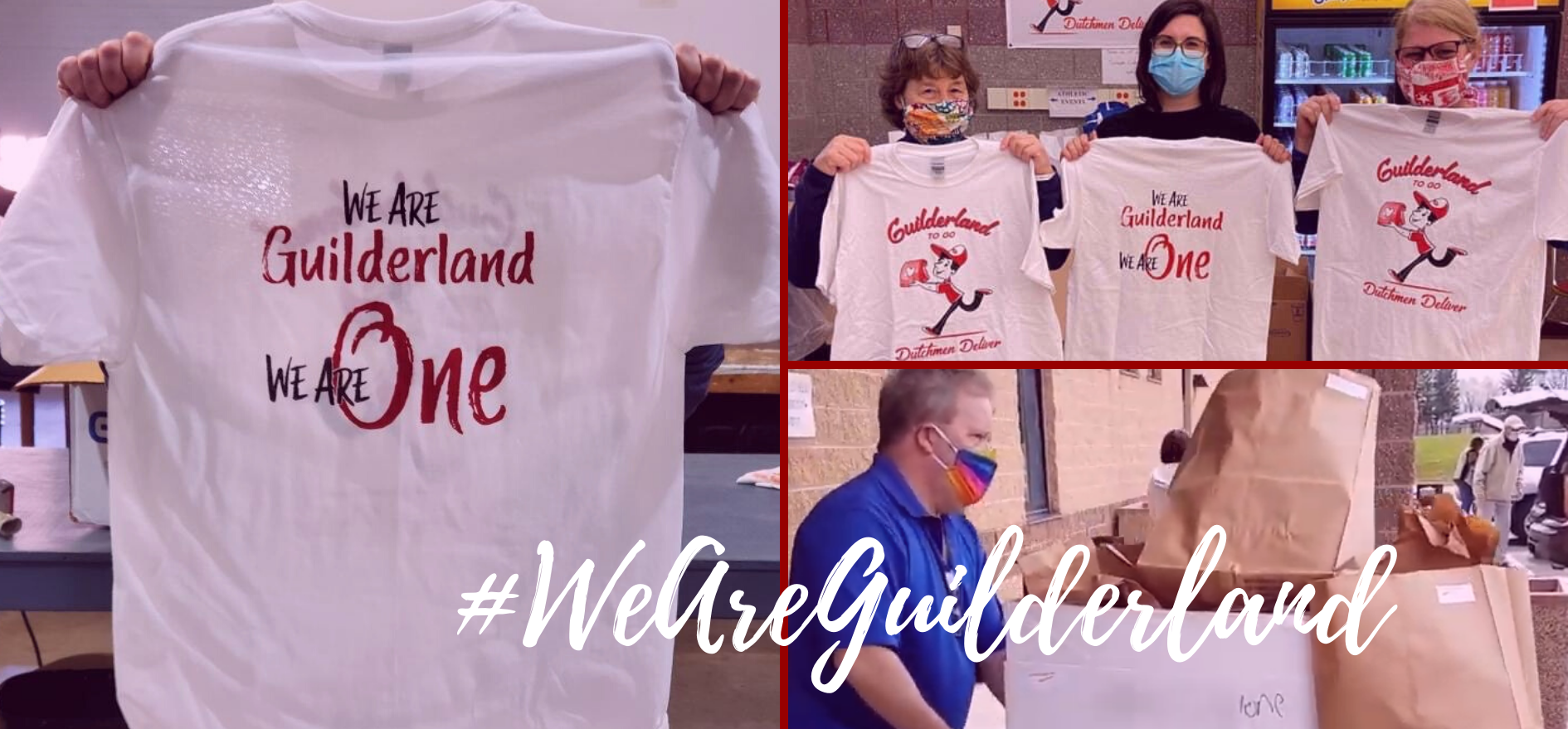 #WeAreGuilderland images of volunteers packing meals to be delivered