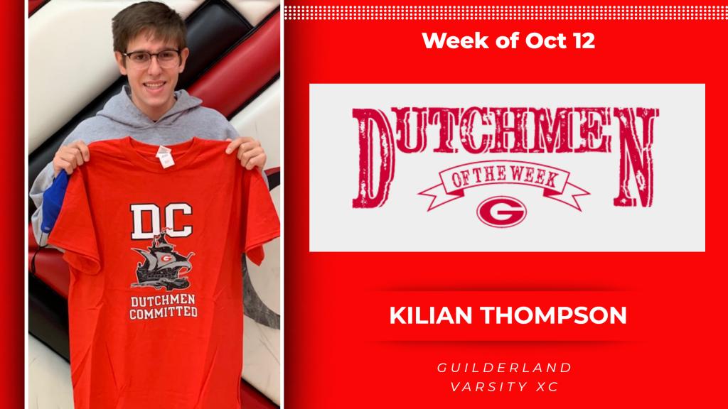 2020 Dutchment of the Week (DOW) award winner, Kilian Thompson (Varsity XC). Kilian holding a Guilderland Athletics t-shirt.