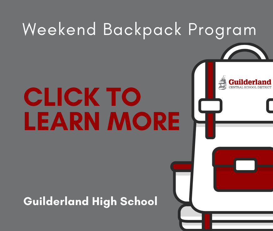 GHS Weekend Backpack Program Picture. Click here to learn more about the program, including volunteering, donating and enrollment eligibility