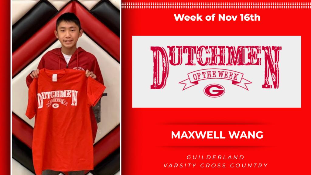 Nov. 16 Dutchmen of the Week award winner, Maxwell Wang holding a Dutchment t-shirt