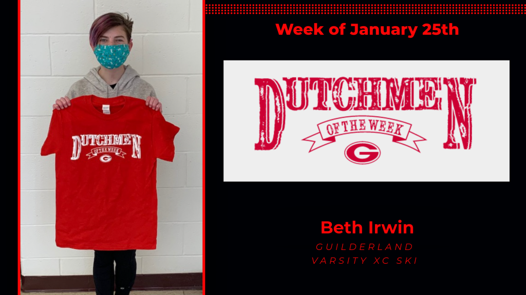 Beth Irwin holding the red Dutchmen of the Week t-shirt