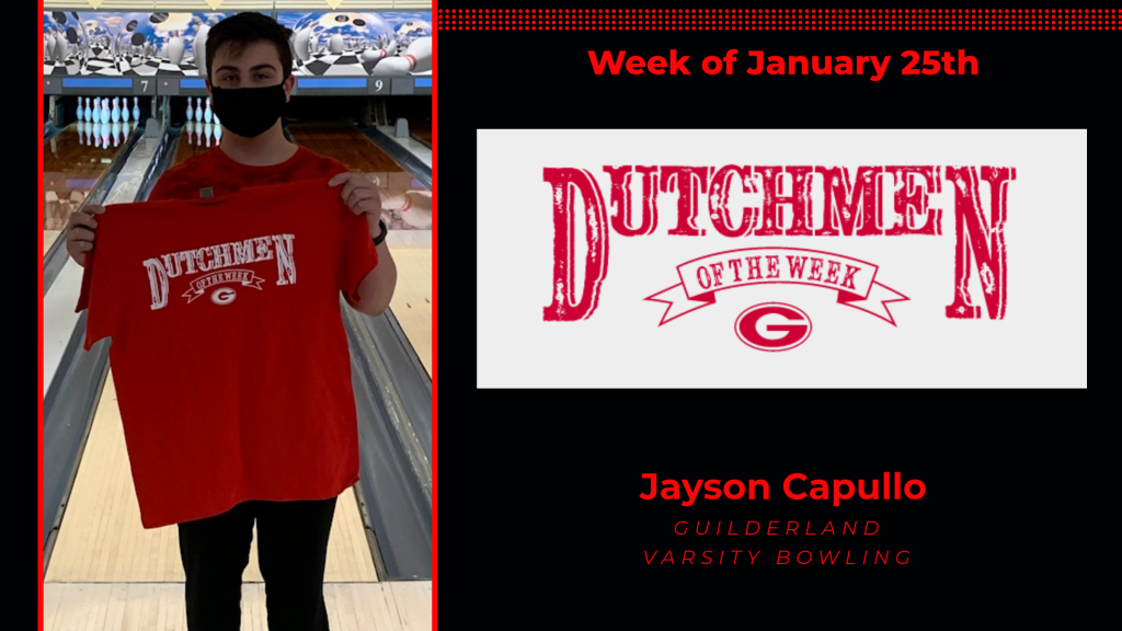 Jayson Capullo holding red Dutchmen of the Week t-shirt
