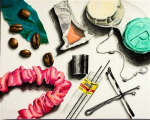 Keri Yamaguchi work: Collection of objects on a white background. Objects such as coffee beans, unwrapped gum, hair pins, a chain, hair tie and more