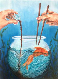 Keri Yamaguchi work: fishbowl with goldfish in water, hands on either side with chopsticks against a blue background