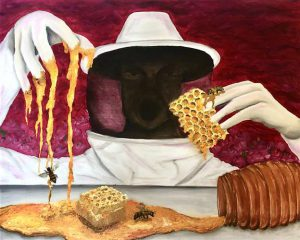 Keri Yamaguchi work: beehive, bees, honeycomb, with bee keeper against a red background