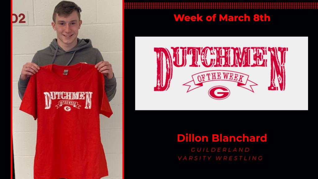 Dillon Blanchard holding Dutchmen of the Week award tshirt