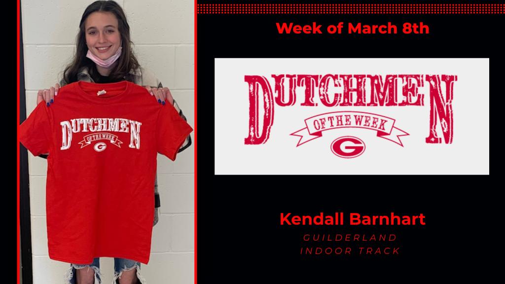 Kendall Barnhart holding Dutchmen of the Week award tshirt