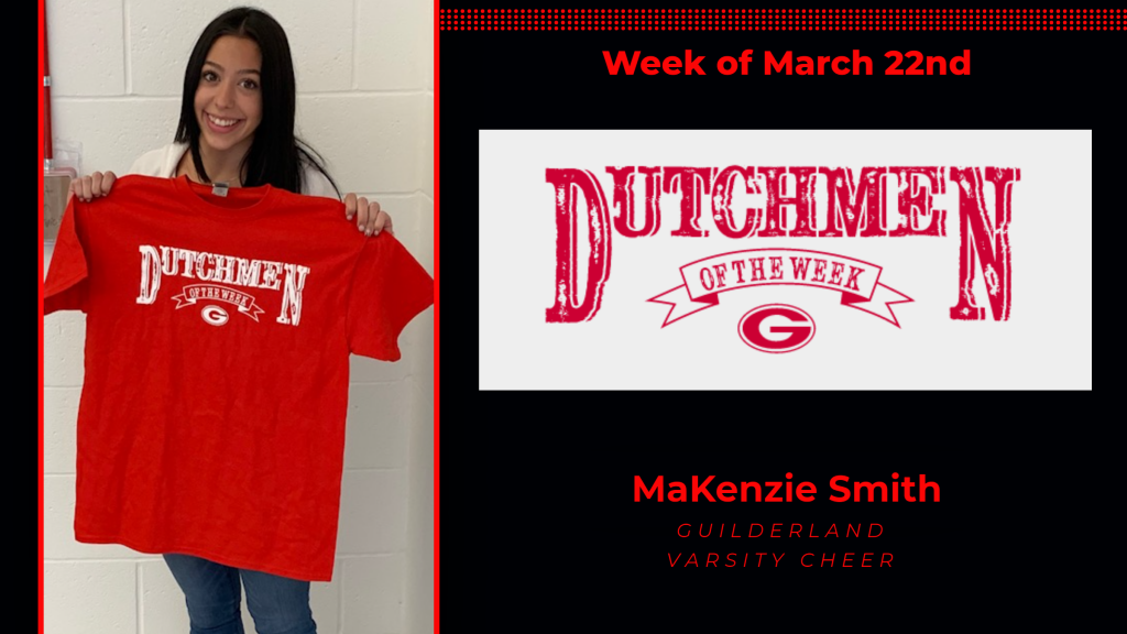 MaKenzie holding the Dutchment of the Week t-shirt