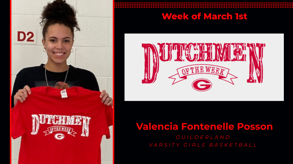 Valencia Fontenelle Posson holding Dutchmen of the Week award shirt