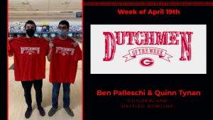 Two bowling athletes holding Dutchmen shirts