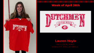 Student athlete Lauren Hoyle smiles for the camera holding a red Dutchmen shirt with white lettering.